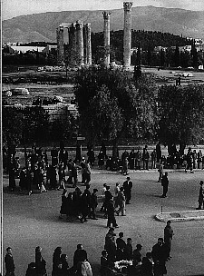 Procession of victims of the attack on demonstrators in Syntagma Square passes the Temple of Olympian Zeus on the way to be buried