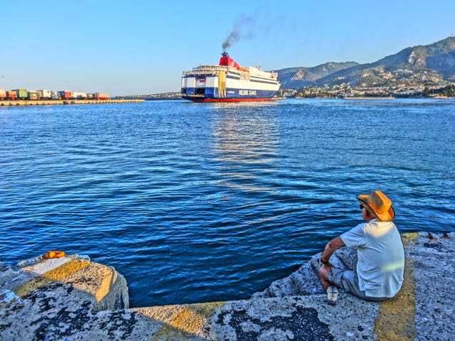 Hellenic Seaways ferry leaving Lesvos
