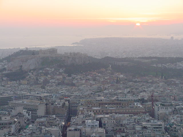 Athens, Greece: Acropolis and Pireaus from Lycabettus