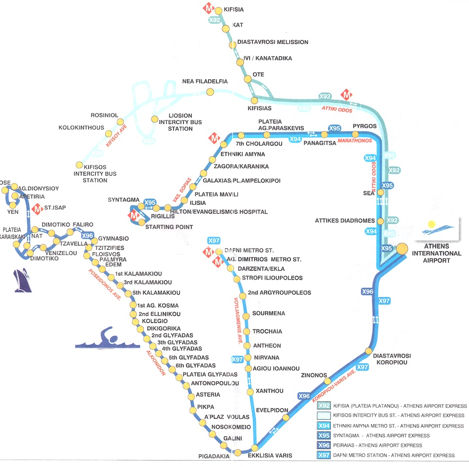 Subway Map Athens Greece.Athens Airport Bus Map
