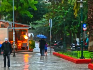 Athens in the rain