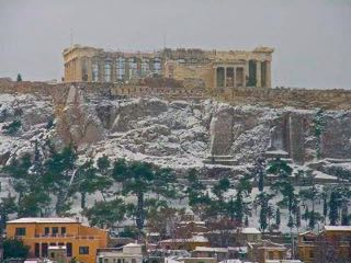 Snow on the Acropolis