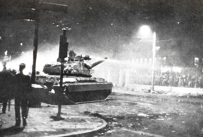 Athens, GreeceStudents confront tank at the Politechnion on Nov 17 1973.