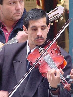 Street musician on Ermou