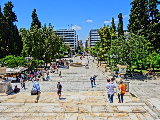 Syntagma Square: Looking down Ermou Street